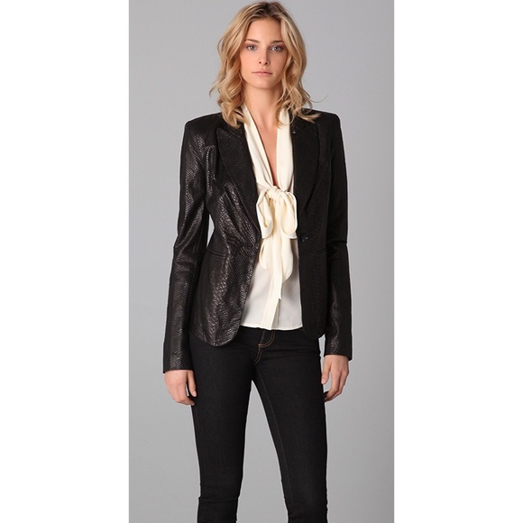 Rachel Zoe Jackets & Blazers - Rachel Zoe Sullivan Croc-Embossed Leather Jacket
